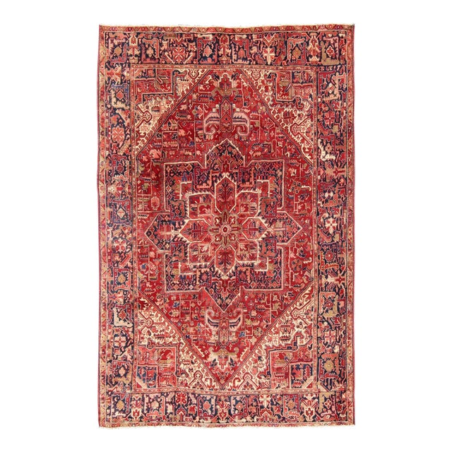 1950s Vintage Persian Heriz Red Medallion Rug - 8′ × 11′9″ For Sale