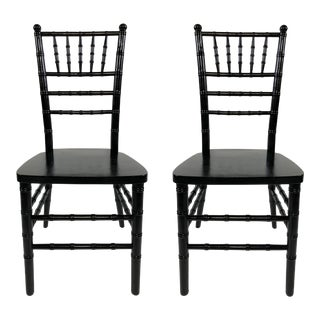 High Gloss Faux Bamboo Chairs, Pair For Sale
