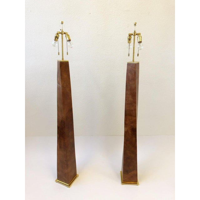 Karl Springer 1980s Brass and Leather Floor Lamps by Karl Springer - a Pair For Sale - Image 4 of 10