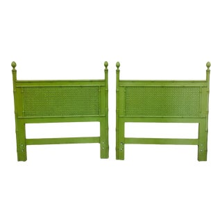 Vintage Green Faux Bamboo Twin Beds - a Pair