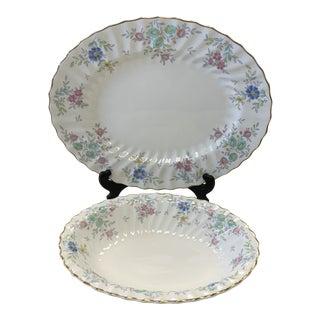 1950s Vintage Royal Doulton Pastoral Porcelain Serving Dishes - Set of 2 For Sale