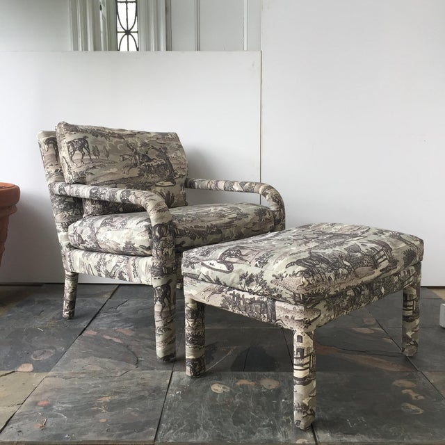 Vintage Toile Upholstered Chairs & Ottomans - A Pair - Image 2 of 6