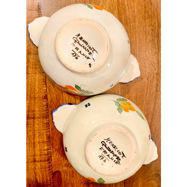Ceramic French HenRiot Quimper Signed Lug Bowls- a Pair For Sale - Image 7 of 12