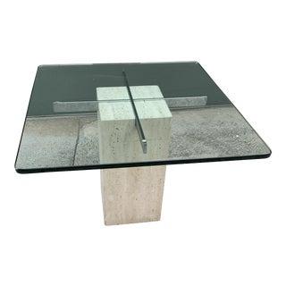 1980s Italian Artedi Travertine Chrome and Glass Side Table For Sale
