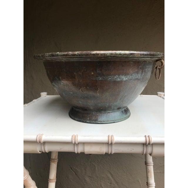 Metal Large Handmade Copper Pedestal Bowl For Sale - Image 7 of 7