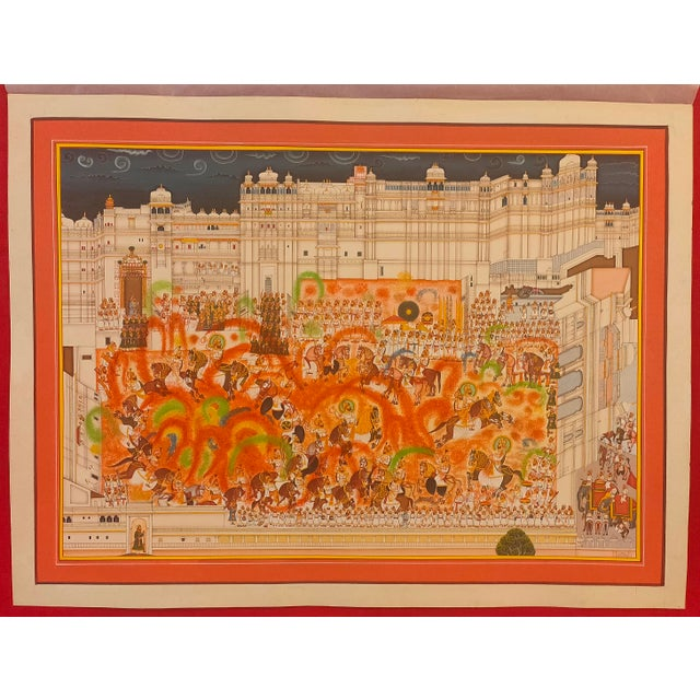 Indian Hand Painted Holi Festival Scene Detailed Indian Miniature Painting Vasli Paper and Art Work For Sale - Image 3 of 3