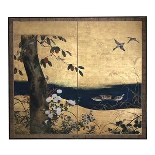 Antique Japanese Two-Panel Screen, Byobu For Sale