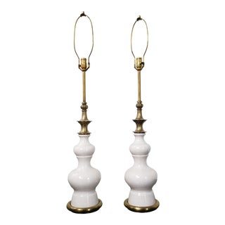 Mid-Century Stiffel Ceramic and Brass Lamps - a Pair For Sale