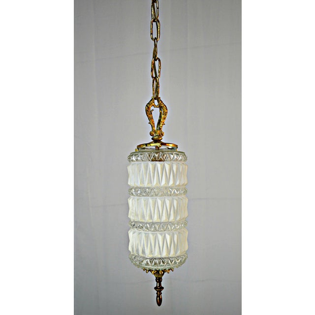 Art Deco Frosted and Clear Glass Pendant - Image 4 of 8