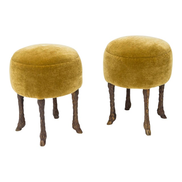 "Marc Bankowsky - Pair of Stools ""Goat Feet"" - Bronze and Velvet - 2018 For Sale"