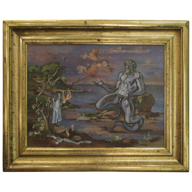 """1934 """"Neptune at Shore"""" Oil on Canvas Painting by William Littlefield For Sale - Image 9 of 9"""