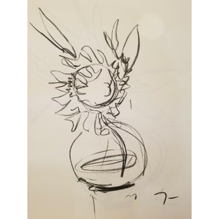 Jose Trujillo Flower Original Charcoal on Paper Sketch Drawing Signed For Sale