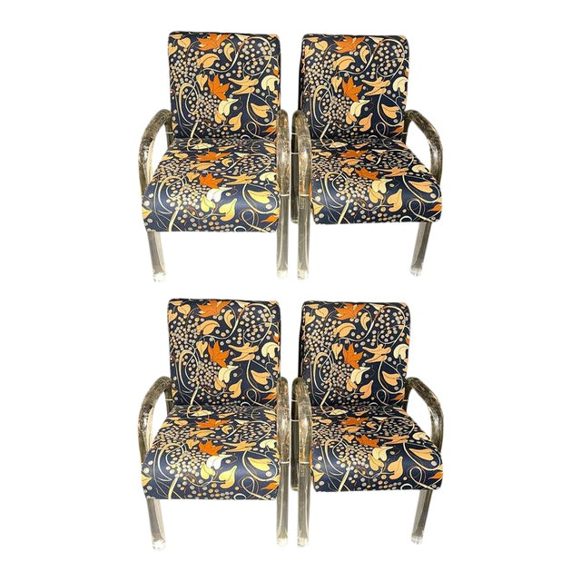 Mid-Century Modern Set of Four Chairs, Tubular Lucite Frames For Sale