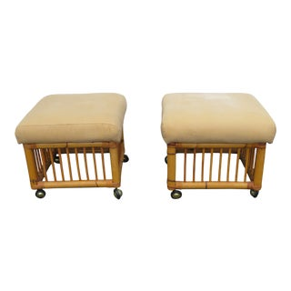 Hollywood Regency Pair of Rattan Bamboo Ottoman Foot Stools 2305 For Sale