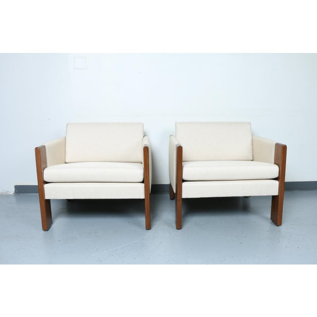 Walnut pair of Cubed Lounge Chairs - Image 4 of 10