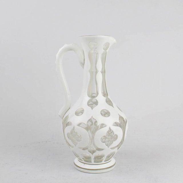 Traditional 19th Century Bohemian White Cut to Clear Overlay Glass Pitcher or Ewer For Sale - Image 3 of 10