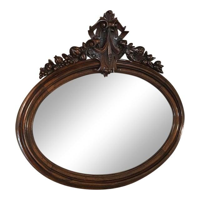 19th Century French Louis XVI Walnut Oval Mirror For Sale