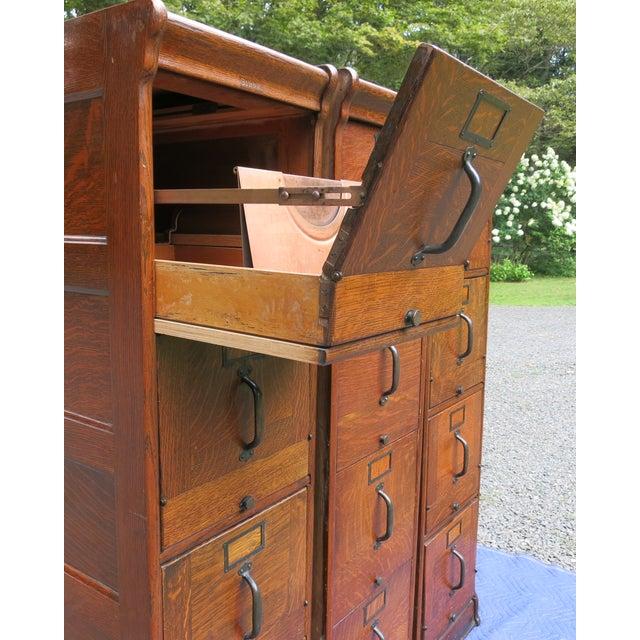 Brown Antique Globe Oak File Cabinets - Set of 3 For Sale - Image 8 of 13