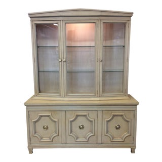 Dorothy Draper Neoclassical Style Lighted China Cabinet For Sale