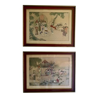 20th C. Vintage Figurative Asian Paintings - a Pair For Sale