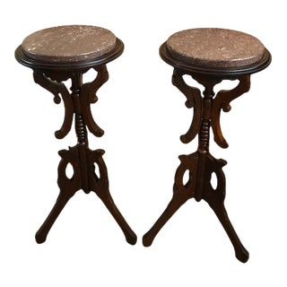 Antique Late 19th Century Victorian Walnut Marble Top Statue Pedestals Stands - a Pair For Sale