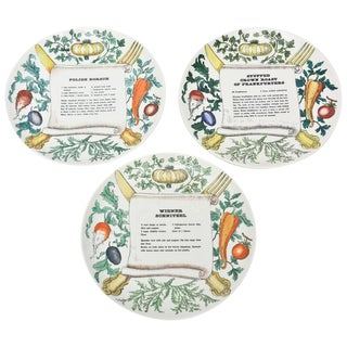 "Set of Three Italian Vintage Piero Fornasetti ""Recipe"" Porcelain Plates For Sale"