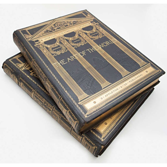 Leather 19th Century Art of the World Columbian Exposition Books - 2 Volumes For Sale - Image 7 of 11