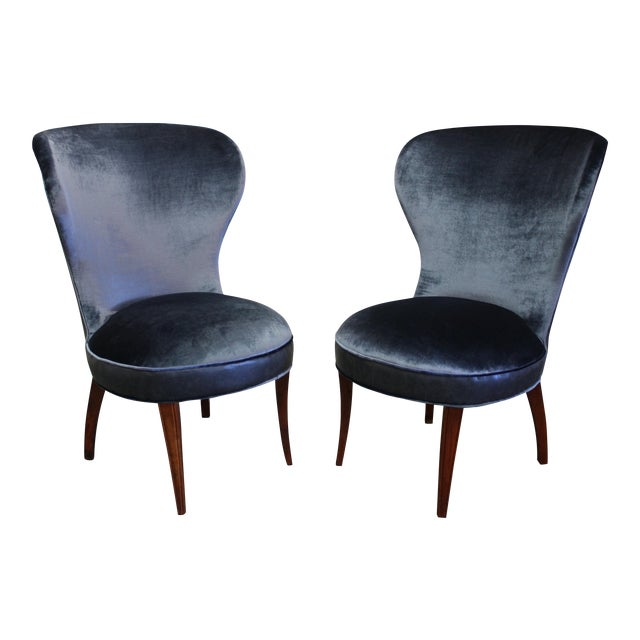 Mid-20th Century Art Deco Midnight Blue Velvet Slipper Chairs - a Pair - Image 1 of 9