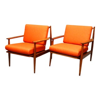 Mid Century Danish Lounge Chairs With New Orange Cushions - a Pair For Sale