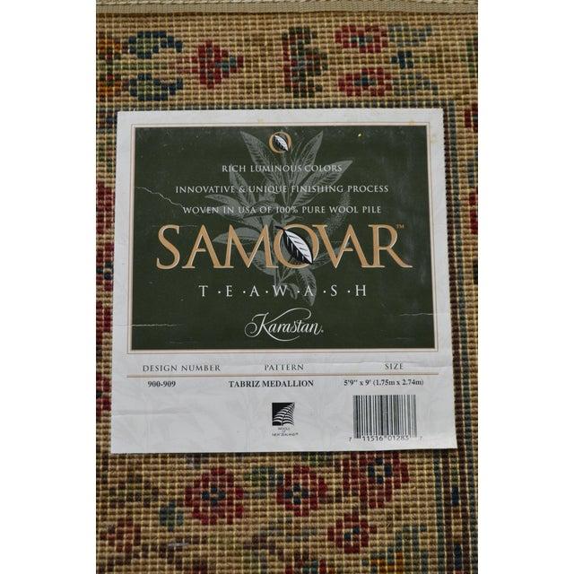 """Karastan Tea Wash Samovar Tebriz Medallion 5'9"""" x 9 Rug For Sale - Image 11 of 12"""