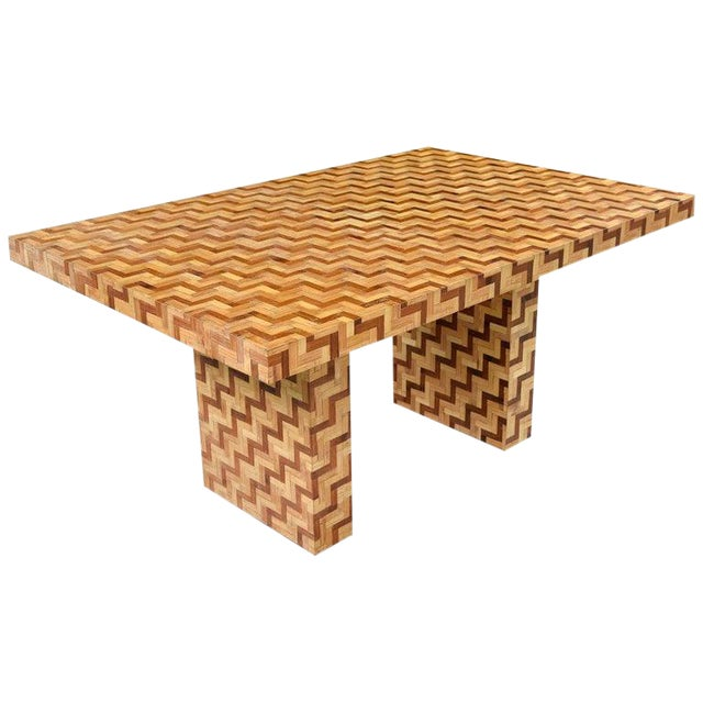 Chevron Parquet Bamboo Rattan Pedestal Dining Table or Desk, 1970s For Sale