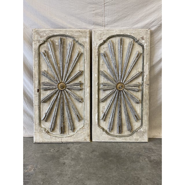 White Italian Sunburst Painted Wall Panels - 19th C For Sale - Image 8 of 8