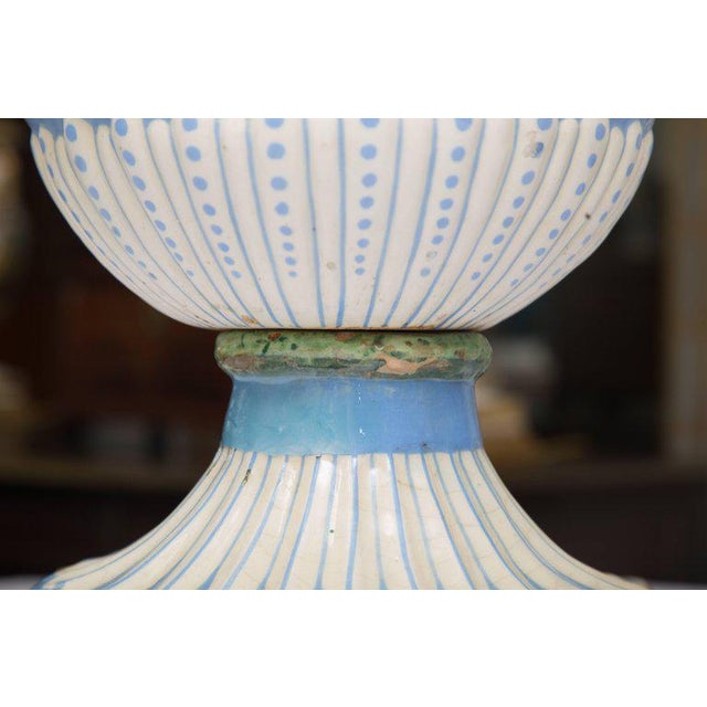 Italian 19th Century Della Robbia Italian Hand-Painted and Glazed Lidded Urn For Sale - Image 3 of 10