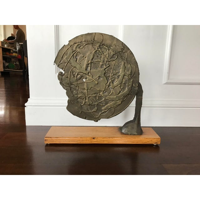 Vintage Mid Century Modern Bronze Metal and Wood Abstract Sculpture For Sale - Image 12 of 12