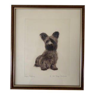 Early 20th Century Kurt Meyer Eberhardt Copper Engraving of Skye Terrier Puppy Dog For Sale