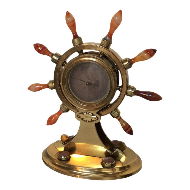 Agate & Brass Nautical Barometer For Sale