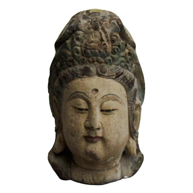 Vintage Rustic Wooden Carved Kwan Yin Bodhisattva Head Statue For Sale In San Francisco - Image 6 of 8
