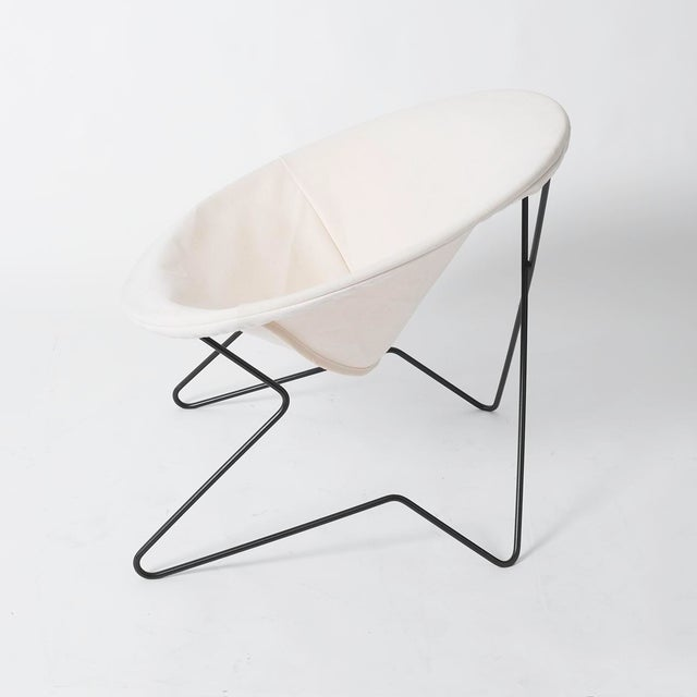 Canvas Single Cantilevered Modernist Hoop Chair with Canvas Cover For Sale - Image 7 of 10