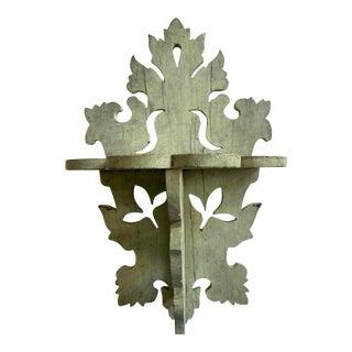Folk Art Carved Wood Painted Display Shelf For Sale