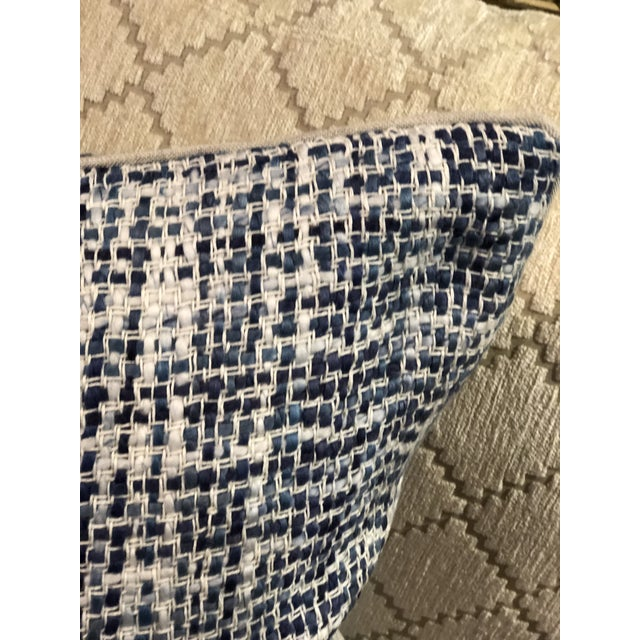 Contemporary Contemporary Home Navy Blue Textured Square Pillow For Sale - Image 3 of 7