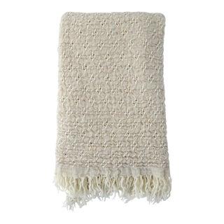 FirmaMenta Italian Cashmere and Virgin Wool Cream Chuncky Throw For Sale