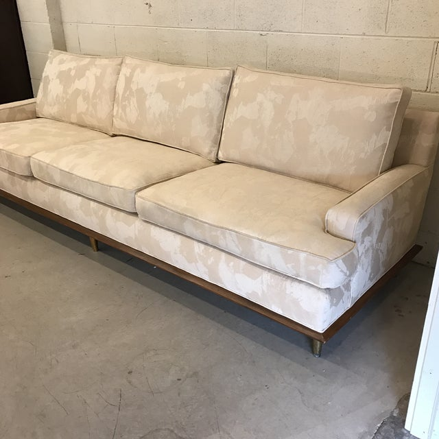 Hollywood Regency Mid-Century Sofa With Brass Legs For Sale - Image 3 of 9