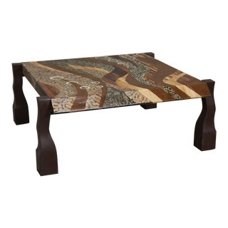 """Contemporary """"Vienna"""" Cocktail or Coffee Table With Exotic Inlay, 1990s For Sale"""