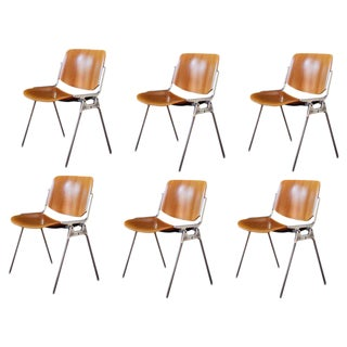 1960s Vintage Giancarlo Piretti for Castelli Stackable Chairs- Set of 6 For Sale