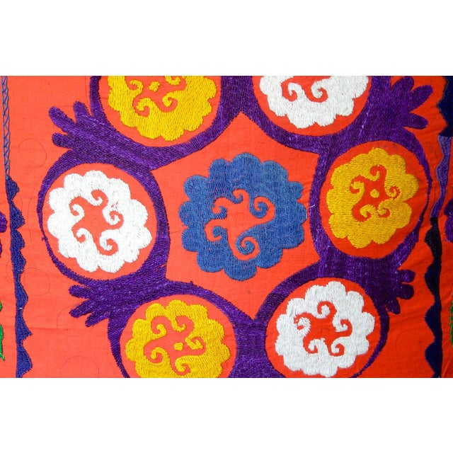 Boho Chic Bostan Suzani Throw Pillow For Sale - Image 3 of 6
