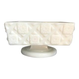 "Vintage Mid-Century Milk Glass ""Old Quilt Pattern"" Nut Bowl For Sale"