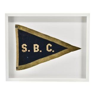 Vintage Yacht Club Flag Blue, Framed For Sale