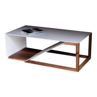 Steel Cortado, Modern Steel and Walnut Coffee Table