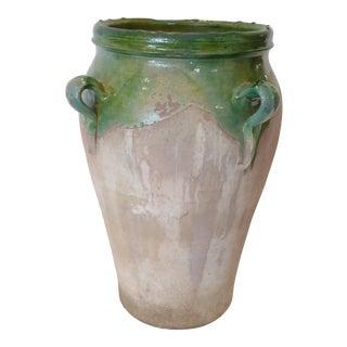 Vintage French Green Glazed Ceramic Jar For Sale