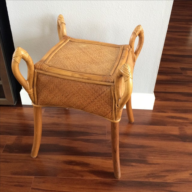 Vintage Bohemian Rattan Wicker Table - Image 2 of 8